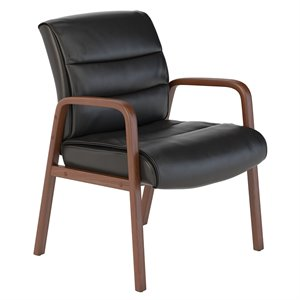 Scranton & Co Leather Guest Chair with Wood Arms in Black
