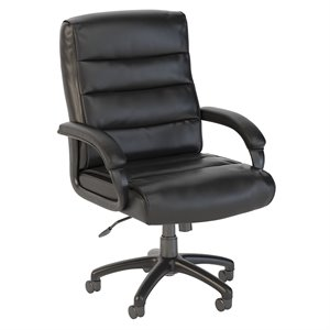 Scranton & Co Mid Back Leather Executive Office Chair in Black
