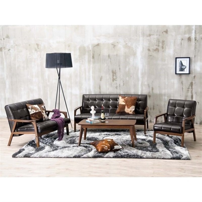 Atlin Designs 3 Piece Leather Sofa Set in Brown
