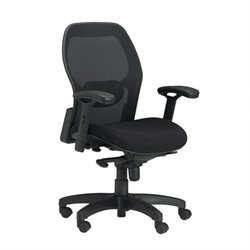 Mayline Mercado Black Fabric Seat with Mesh Back Synchro-Tilt Office Chair