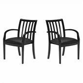 Mayline Mercado Genuine Black Leather Seat & Slat Back Solid Espresso Walnut Wood Chair (Set of 2)