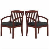 Mayline Mercado Genuine Black Leather Seat & Slat Back Solid Medium Cherry Wood Chair (Set of 2)