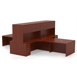Mayline Aberdeen Typical AT27 4 L-Shaped Executive Desk Suite in Cherry