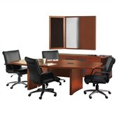 Mayline Aberdeen Boat Conference Table, Low Wall Cabinet, 2 Round Bookcases and Visual Presentation Board