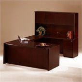 Mayline Corsica 66 Wood U-Shaped Desk with Center Drawer