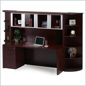 Mayline Corsica 66 Inch Straight Front Desk with Bridge, Credenza, Hutch (Glass Doors), Mobile Filing Cabinets and Center Drawer