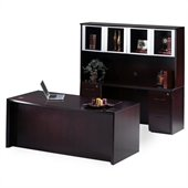 Mayline Corsica 72 Bow Front Executive Computer Desk, Credenza, Hutch with Glass Doors, 2 Mobile Filing Cabinets and Center Drawer