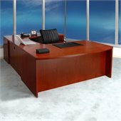 Mayline Mira Wood U-Shaped Desk in Cherry