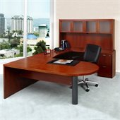 Mayline Mira Wood Peninsula U-Shaped Desk Set in Cherry