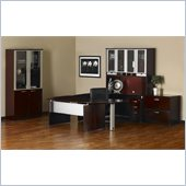 Mayline Mira Right P-Shaped Desk, Credenza, Return and File-File Pedestal