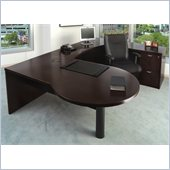 Mayline Mira Left P-Shaped Desk, Credenza, Return and File-File Pedestal
