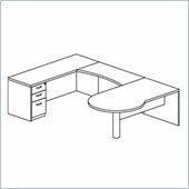 Mayline Mira Right P-Shaped Desk, Credenza, Return and Box-Box-File Pedestal
