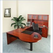 Mayline Mira Left P-Shaped Desk, Credenza, Return, Hutch and File-File Pedestal