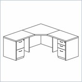 Mayline Mira Corner Table, Two (2) Returns, Box-Box-File Pedestal and File-File Pedestal