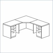 Mayline Mira Corner Table, Two (2) Returns and Two (2) Box-Box-File Pedestals