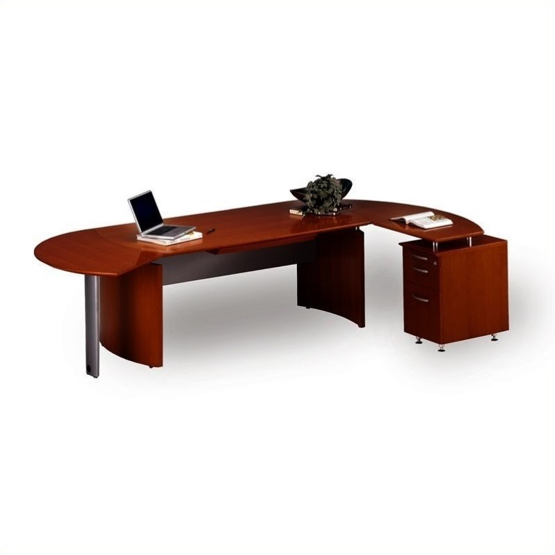 "Mayline Napoli 72"" Wood L Shaped Sierra Cherry Computer Desk 
