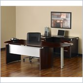 Mayline Napoli 63 Desk with Curved Extension, Right Single Pedestal Return, Center Drawer and Low Wall Cabinet