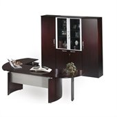 Mayline Napoli 7-Piece Desk Set with High Wall Cabinet and 2 Wardrobe Cabinets