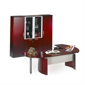 Mayline Napoli 72 Desk Set with Curved Extension, Left Return with Pedestal, High Wall Cabinet and 2 Wardrobe Cabinets