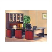 Mayline Napoli 63 Desk Set with Curved Extension, Center Drawer, Right-Hand Bridge, Credenza, Hutch, Pedestal and Trays