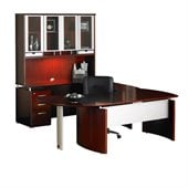 Mayline Napoli 63 Desk Set with Curved Extension, Center Drawer, Left-Hand Bridge, Credenza, Hutch, Pedestal and Trays