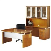 Mayline Napoli 63 Desk, Center Drawer, Right-Hand Bridge, Credenza, Hutch, Pedestal and Trays