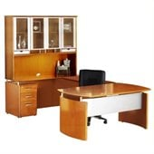 Mayline Napoli 72 Desk Set with Center Drawer Left-Hand Bridge Credenza Hutch Pedestal and Trays