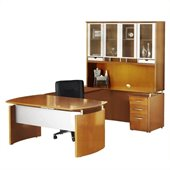 Mayline Napoli 72 Desk Set with Center Drawer Bridge Credenza Hutch Pedestal and Trays