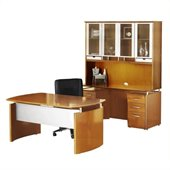 Mayline Napoli 63 Desk Set with Center Drawer, Credenza, Hutch, Pedestals and Trays