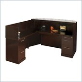 Mayline Sorrento Reception Desk Set with Marble Counter, Left Return and 2 Organizers
