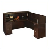 Mayline Sorrento Reception Desk Set with Marble Counter, Right Return and 2 Organizers