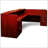 Mayline Mira Double Pedestal Box/Box/File Reception Station with Return and Glass Counter