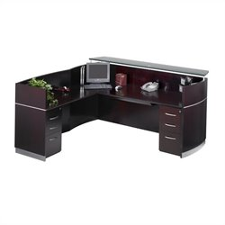 Mayline Napoli Double Box/Box/File Pedestal Reception Station in Mahogany
