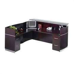 Mayline Napoli Double File/File Pedestal Reception Station with Return in Mahogany