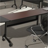 Mayline Flip-N-Go 18 x 60 Low Pressure Laminate T-Mold Table in Mahogany