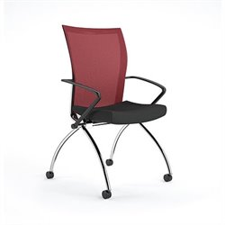 Mayline Valore High-Back Guest Chair in Black and Red (Set of 2)