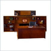 Mayline Stella 72 x 36 Desk with Credenza, Hutch, Bookcase, and 2 Mobile Pedestals