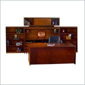 Mayline Stella 72 x 36 Desk with Credenza, Hutch, Bookcase, Mobile Pedestal, and Storage Side Cabinet in Toffee