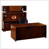 Mayline Stella 72 x 36 Desk with Credenza, Hutch, 2 Mobile Pedestals, and Storage Side Cabinet in Toffee