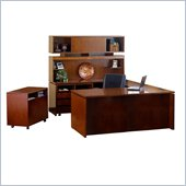 Mayline Stella 72 x 36 Desk with Bridge, Credenza, Hutch, Storage Side Cabinet, Mobile Pedestal, and Lateral File in Toffee