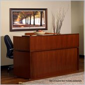 Mayline Stella 72 x 30  Desk with Reception Screen, Mobile Pedestal, and Center Drawer in Toffee