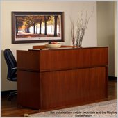Mayline Stella 72 x 30 Desk with Reception Counter, Mobile Pedestal, Center Drawer, Return, and Reception Screen in Toffee