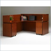 Mayline Stella 72 x 30 Desk with Reception Counter, 2 Mobile Pedestals, Center Drawer, Return, and Reception Screen in Toffee