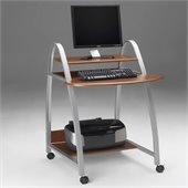 Mayline Eastwinds Mobile Wood and Metal Computer Desk with Shelf and Arch Legs