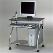 Mayline Eastwinds Argo Mobile Metal Computer Desk with Leather Pivot Arm Chair