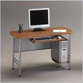 Mayline Eastwinds Santos Small Metal Computer Desk with Wood-Leather Office Chair