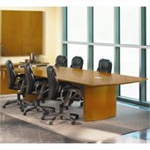 Mayline Napoli Curved End Conference Table in Golden Cherry Finish