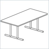 Mayline Geneva Narrow Rectangular 8' Conference Table with Trestle Base