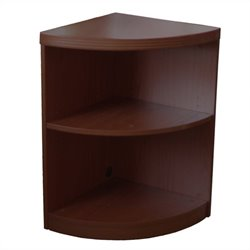 Mayline Aberdeen 2 Shelf Quarter Round Bookcase in Mocha