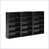 Mayline CSII 5 Shelf Metal Wall Bookcase in Black
